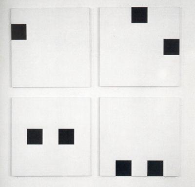 """François Morellet   """"4 répartitions aléatoires de 2 carrés suivant les chiffres : 31-41-59-26-53-58-97-93"""", 1958"""