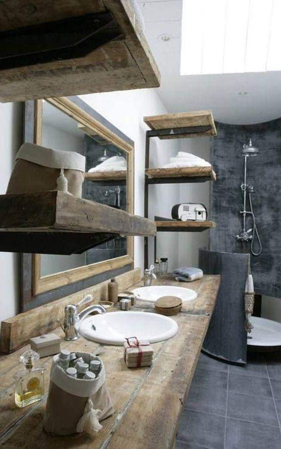 Béton+ciré+dans+une+salle+de+bain+rustique