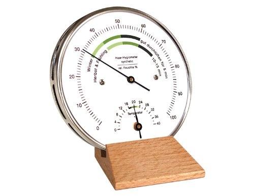 Fischer 122.01HT-01 Wohnklima-Hygrometer, synthetic Edelstahlgehäuse