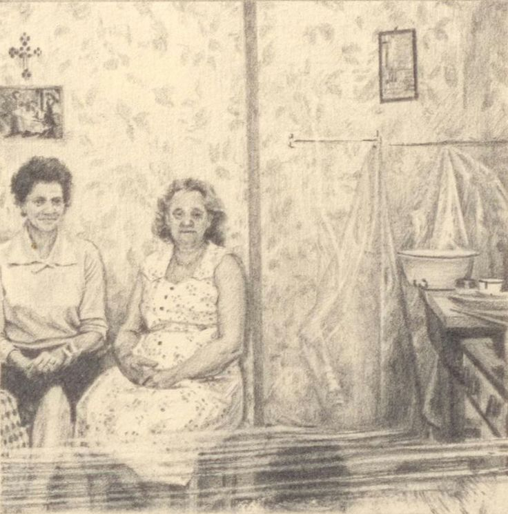 """Two women in a room"" by Jay Senetchko. Graphite on paper 3"" x 3""  ‪#‎PhantomsNeverKnown‬ a miniature artwork exhibition, Friday April 25th at The Burrard Hotel."