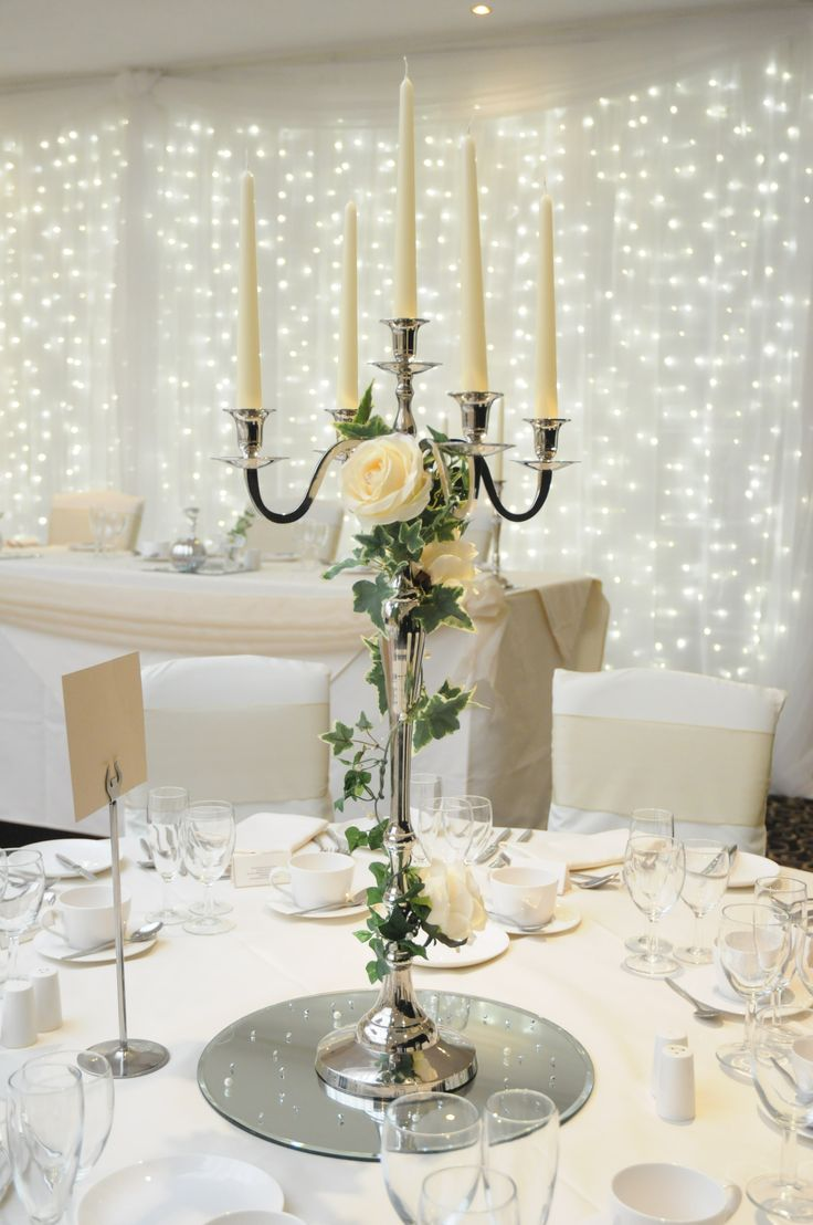 Good Centrepiece Per Table. For The Candelabra Hire For The Candles For The  Round Mirror And Table Scatters Flowers Extra
