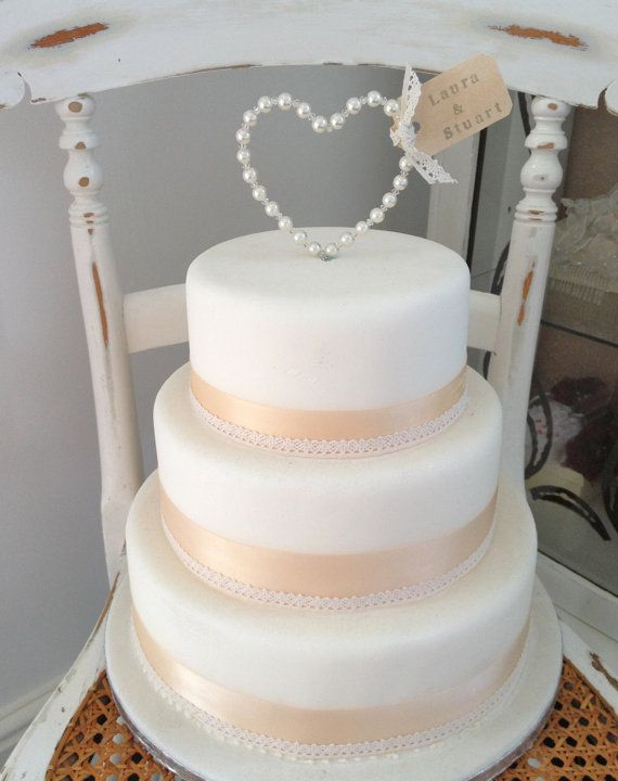 Luxury Personalised Pearl Heart Wedding Cake by TheLittleTiaraRoom, £12.00