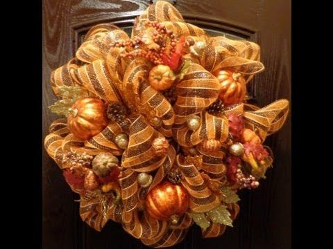 How to make a deco mesh fall wreath. I just made this for the first time. I found the most variety of mesh at Hobby Lobby. This was so simple and fun! The only thing is that it is too full to put on the front door :(