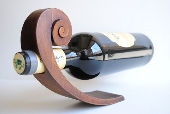 Balancing wooden wine bottle holder by CratenCraft on Etsy