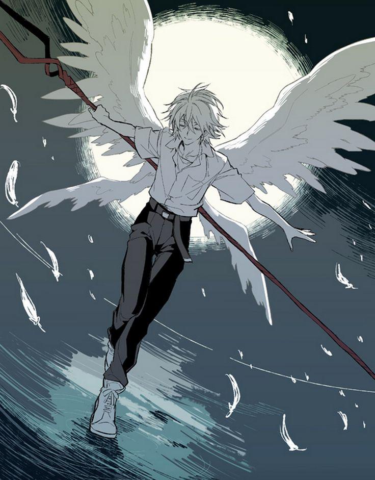 Angel Wings Closed Eyes Feathers Lance Of Longinus Male Moon Nagisa Kaworu Neon Genesis Evangelion Ro A Smile Solo