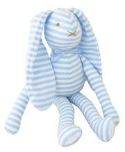 LANKY BUNNY TOY RATTLE 30CM BLUE WHITE