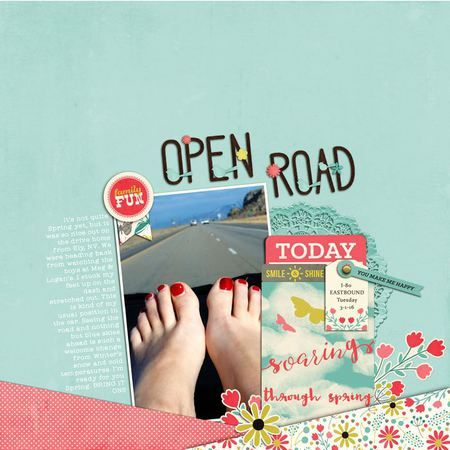 Open Road digital scrapbook layout featuring the Let's Talk Spring collection by Mye De Leon available at www.snapclicksupply.com #digitalscrapbooking