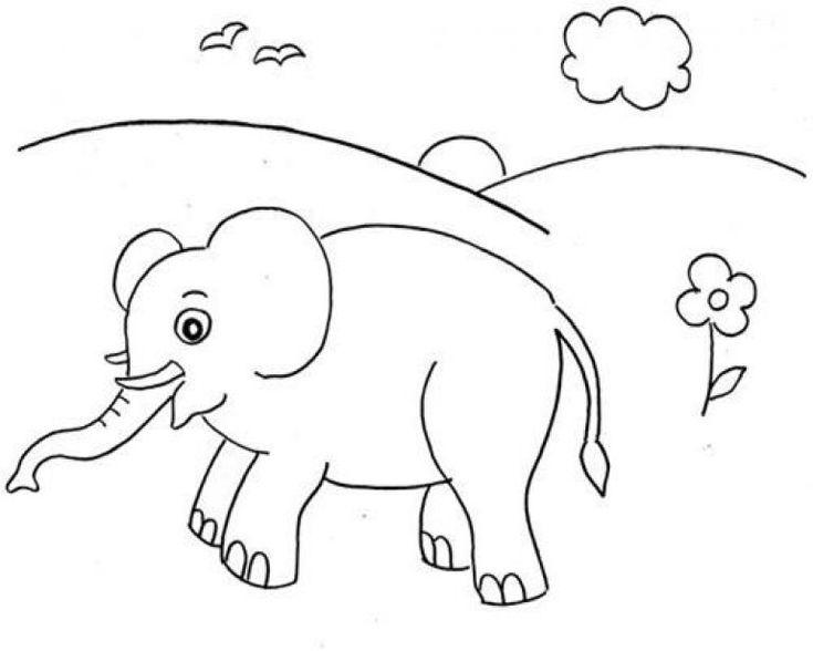 gambar untuk lomba mewarnai anak paud | Menggambar gajah ...