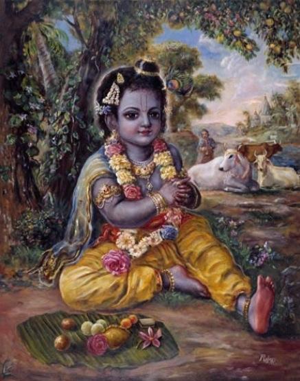 Bala Gopala (little Krishna). Painting by Pushkar das.