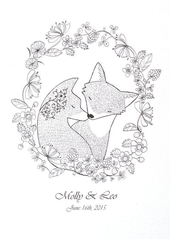 Unique Wedding Gift for Couple Personalized Print Fox Couple Portrait Custom Illustration Print Black & White Wall Art Woodland 5x7 MiKa