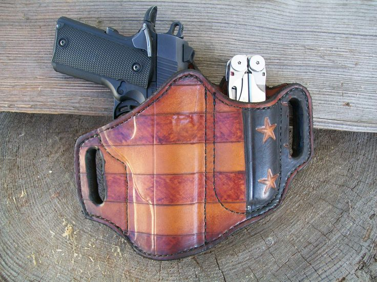 Patriotic pancake holster carrying a Browning 1911 .380 and a Leatherman multi-tool.  Made at Boulder Creek Saddle Shop in Kettle Falls, WA.