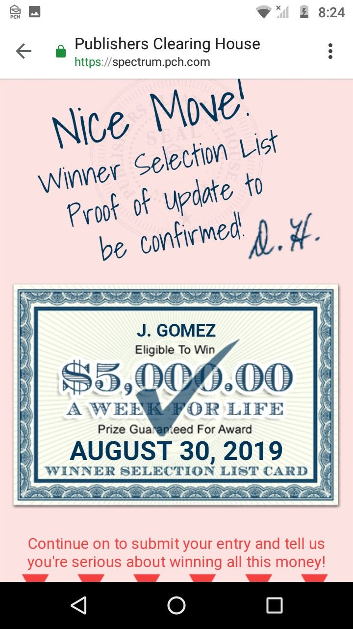 pch i jose c  gomez claim this lifetime prize gwy no 13000