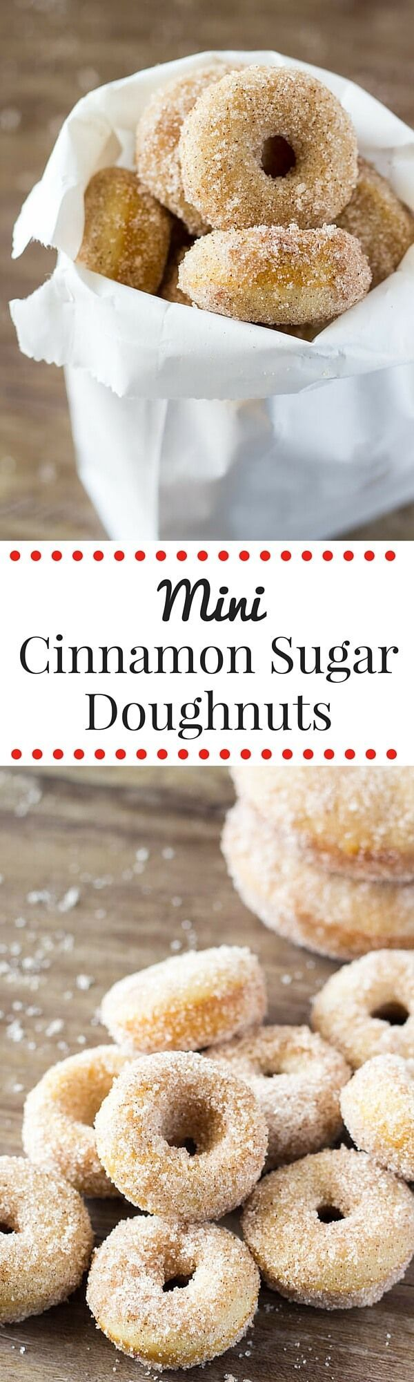 Mini Cinnamon Sugar Doughnuts just like the fair! With golden edges, a delicious coating of cinnamon sugar, and baked instead of fried - these are the PERFECT copycat recipe!