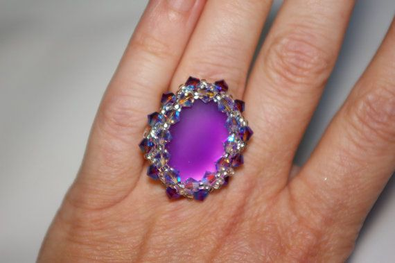 Purple ring with Swarovski Bicones.