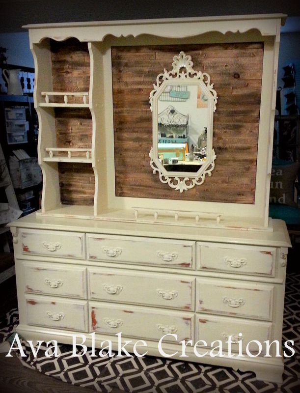Already removed the hutch from my dresser... but maybe paint the hutch and do a chalkboard back????