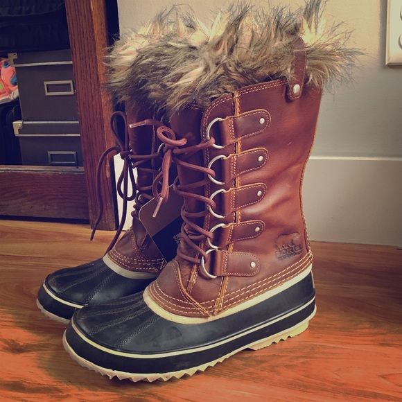 Sorel Joan Of Arc Waterproof Snow Boots Never worn, with tags. Size women's 9 but run a little large! Beautiful waterproof leather and rubber soles. SOREL Shoes Winter & Rain Boots