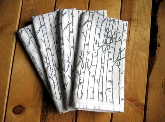 Cloth Napkins - Screen Printed Cotton Cloth Napkins - Eco Friendly Dinner Napkins - Birch Tree - Handmade Cotton Napkins - Reusable by ohlittlerabbit on Etsy https://www.etsy.com/listing/170426050/cloth-napkins-screen-printed-cotton