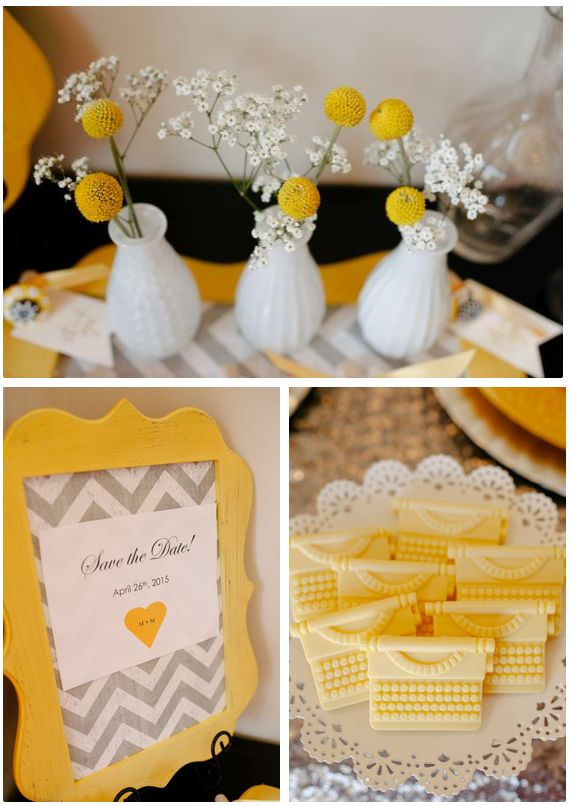 Yellow and gray wedding ideas http://www.theperfectpalette.com/2014/04/a-glitzy-and-glam-art-deco-inspired.html