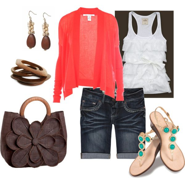 I love the pop of color in this outfit and the length of the shorts is much better too.......haha: Shoes, Colors Combos, Coral, Summer Looks, Fashionista Trends, Summer Outfits, Casual Outfits, Spring Outfits, Outfits Summer
