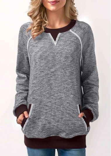 Patchwork Round Neck Long Sleeve Grey Sweatshirt on sale only US$33.57 now, buy cheap Patchwork Round Neck Long Sleeve Grey Sweatshirt at Rosewe.com