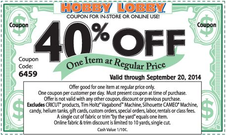 Pinned September 20th: 40% off a single item at Hobby #Lobby, or online via promo code 6459 #coupon via The #Coupons App