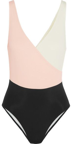 Solid and Striped - The Ballerina Color-block Swimsuit - Pastel pink