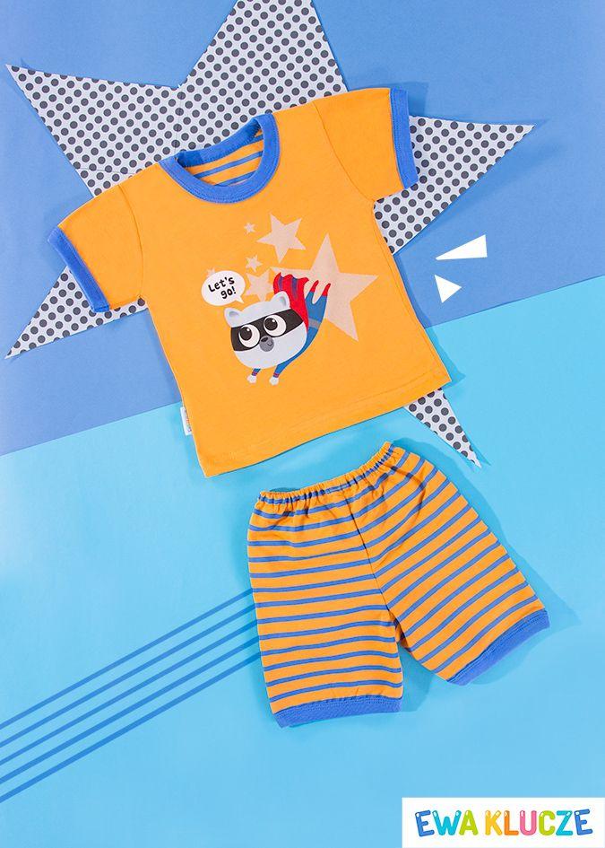 EWA KLUCZE, piżamka z krótkim rękawem pomarańczowa COMICS, ubranka dla dzieci, EWA KLUCZE, COMICS pijamas, baby clothes, Детская одежда