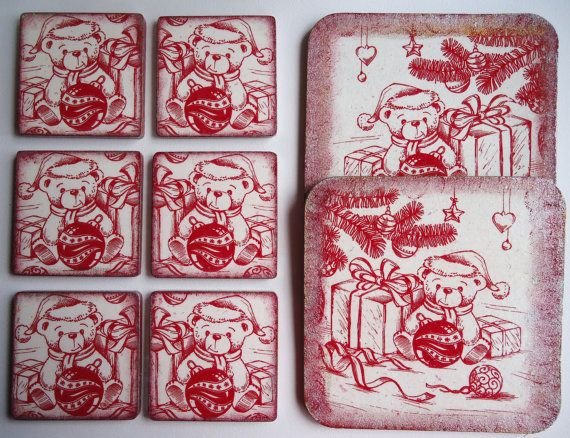 Christmas set of 6 coasters and 2 place mats by VesArtAtelier