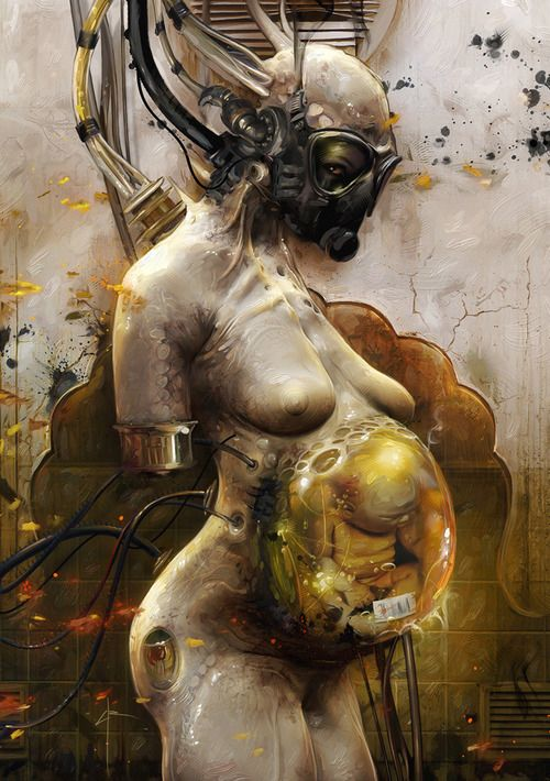 Bene Tleilaxu: taking recycling to a whole new level :)  Enjoy some creepy fanart (artist unknown), to brighten your day!  With epic sci fi / horror (parasitic pregnancy, anyone?), this piece features the Axolotl (Axlotl) Tank.  A cyberpunk-style creature made from a corpse, turned cyborg breeding factory, from the Frank Herbert Dune series, these space 'monsters' made clones (ghola), shapeshifting (Face Dancer) assassin / spies, and Spice.  So, make like a Bene Gesserit and embrace the…