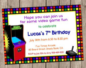 Free Printable Bowling And Arcade Party Invitation - Video game birthday invitation template