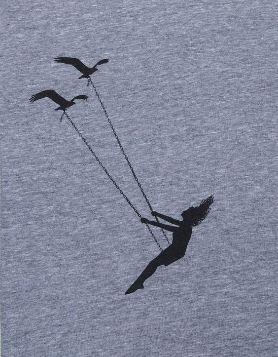 Womens flying bird swing- scoop track t shirt Bella Canvas- heather gray- available in S, M, L , XL WorldWide Shipping – Aga K.
