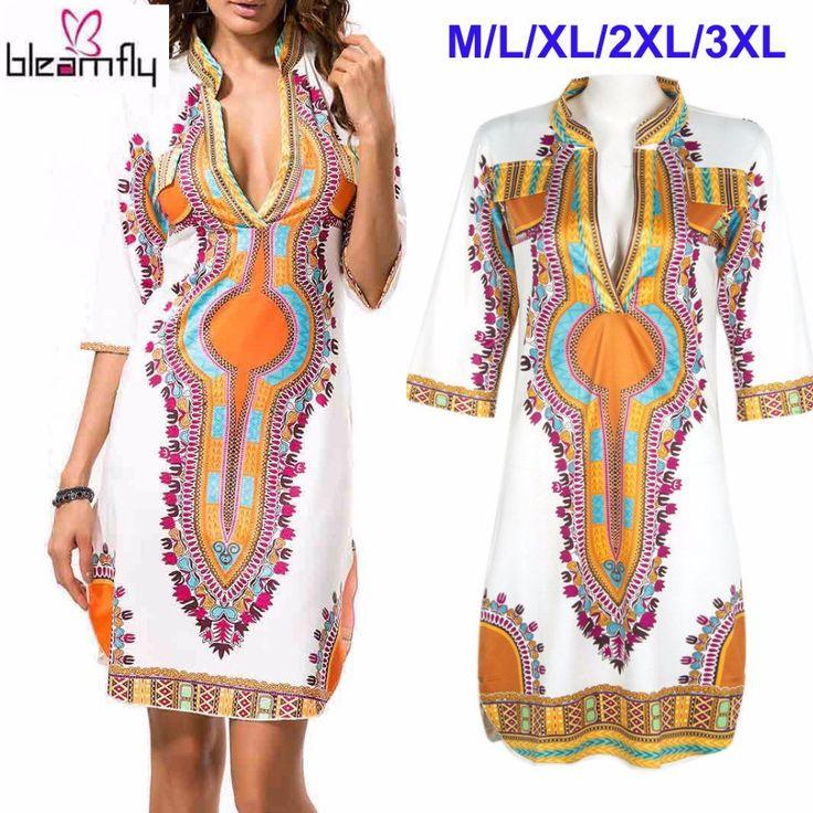 Wholesale African Dresses For Women Indian Print Plus Size Dashiki Clothing Robe Femme Boho Dashiki Fabric Summer Sexy Hippie