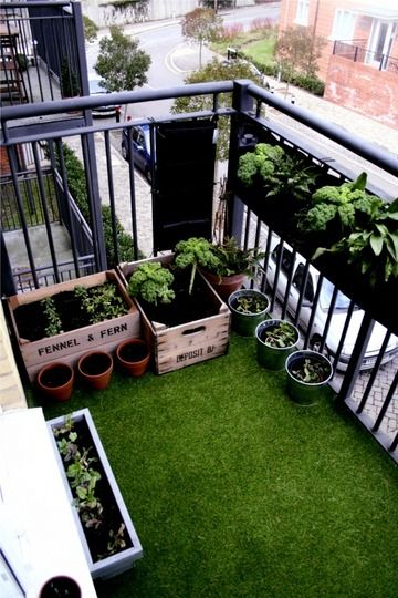 small balcony on my top floor flat covered with beautiful soft fake grass and planted salads and scented flowers in old fruit crates