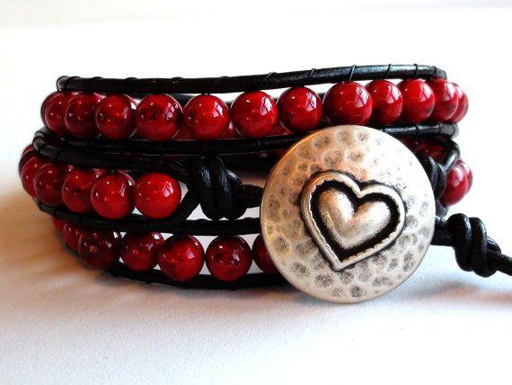 Triple Wrap Red Leather Wrap Bracelet by TaphiaDesigns on Etsy, $38.00