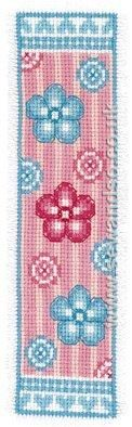 Pink and Blue Flowers Bookmark  By: 	Vervaco