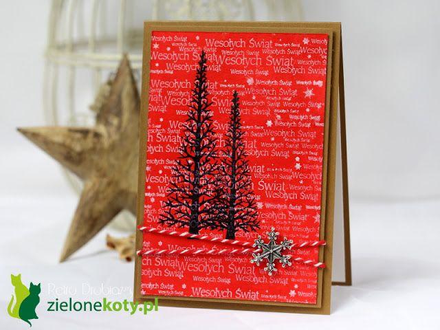 CAS stamping Christmas card tree
