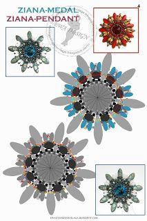 Ewa gyöngyös világa!: Ziana medál minta / Ziana pendant pattern