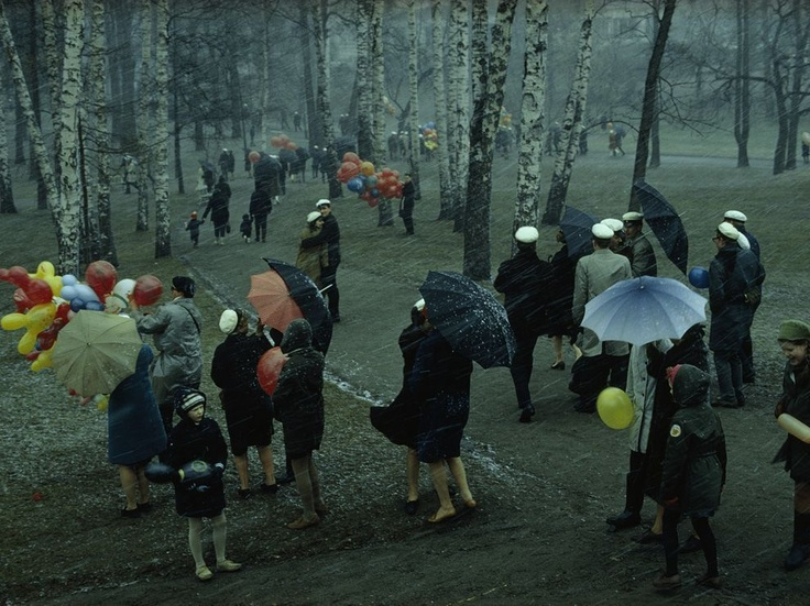 Snowstorm, Finland Photograph by George Mobley A sudden snowstorm buffets May Day revelers during a stroll through Helsinki's Kaivopuisto Park in 1967.