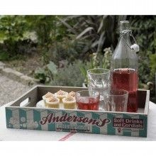 Blue/White Vintage Cherryade Produce Tray