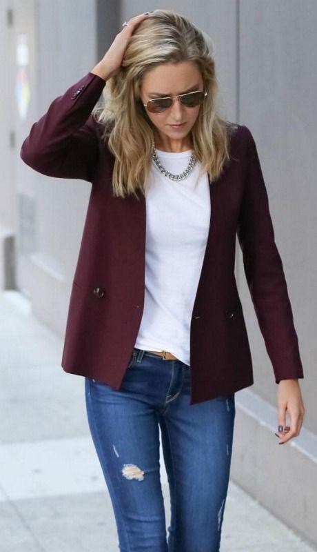ripped jeans, white t-shirt, burgundy blazer, statement necklace + aviator sunglasses