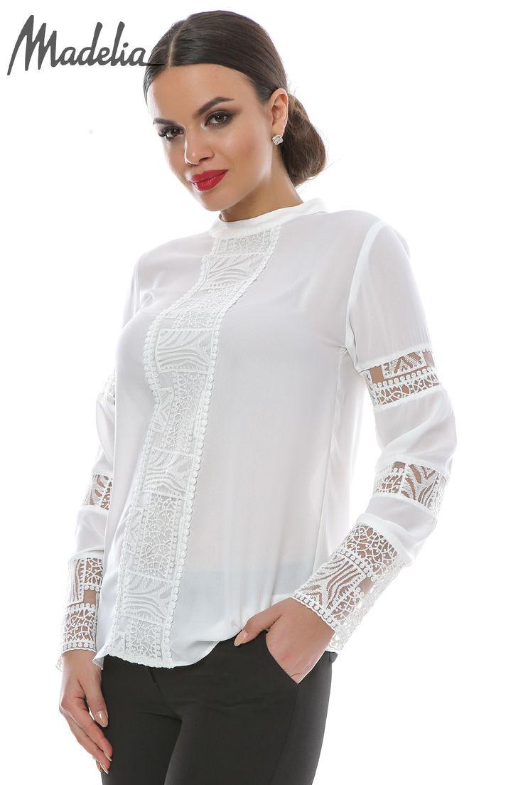 Bluza din voal cu insertii din dantela   Madelia Fashion - Magazin online haine și rochii de damă