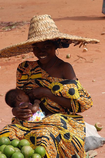Africa   Mother and child at the market.