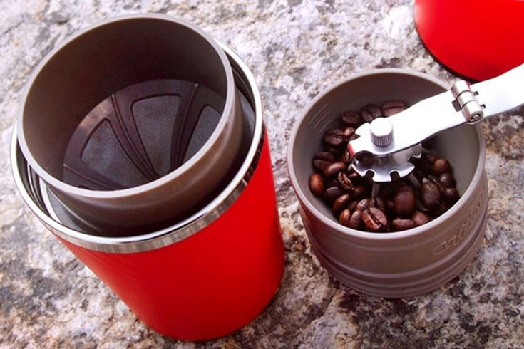 Cafflano Klassic Crams A Coffee Grinder, Brewer And Cup In A Single Portable Tumbler