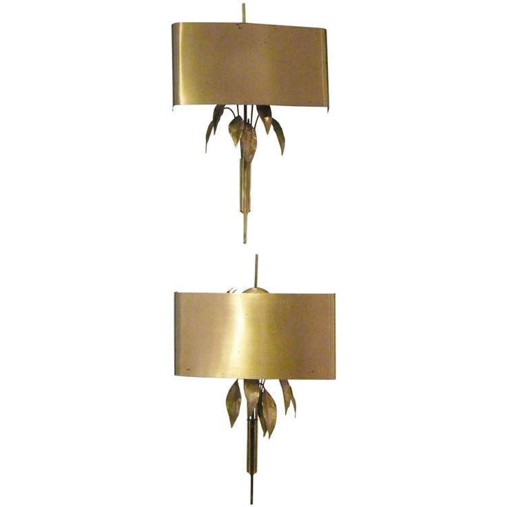 Pair of 1970s Brass Leaf Wall Sconces | From a unique collection of antique and modern wall lights and sconces at http://www.1stdibs.com/furniture/lighting/sconces-wall-lights/