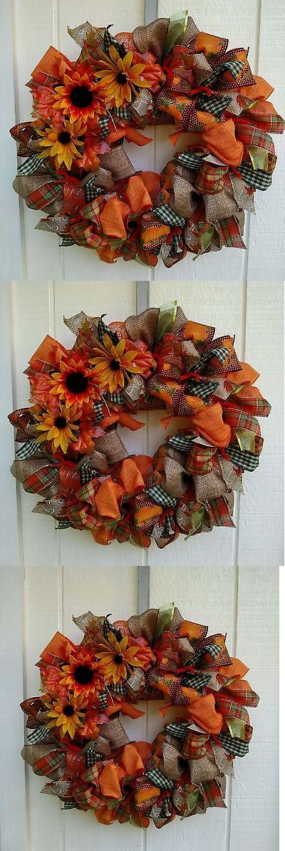 Door D cor 36020: Fall Autumn Deco Mesh Ribbon Wreath - Free Shipping -> BUY IT NOW ONLY: $40 on eBay!