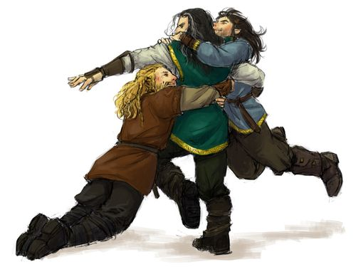 """This thing ceased being cute when you turned 40, stop it!"" Fili, Kili, and Thorin"