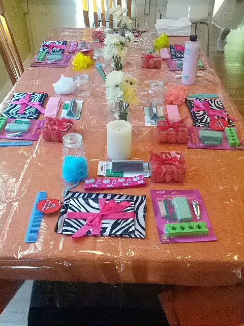 Table decorations for Kid's Spa Party