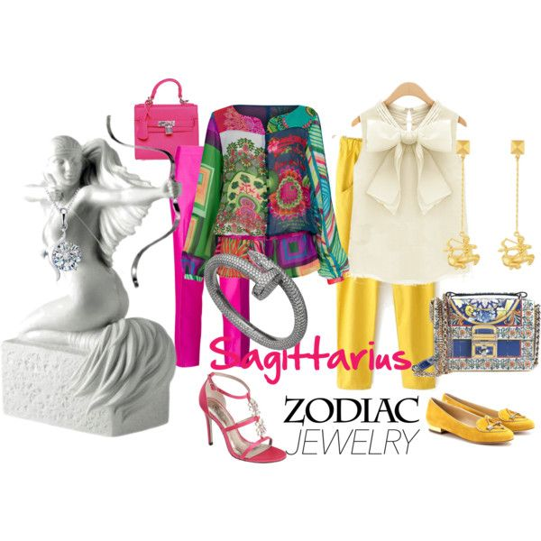 sagittarius by baebaoni-bijoux on Polyvore featuring moda, Desigual, Raoul, Charlotte Olympia, Adrianna Papell, Dolce&Gabbana, Valentino, Belec and Royal Copenhagen