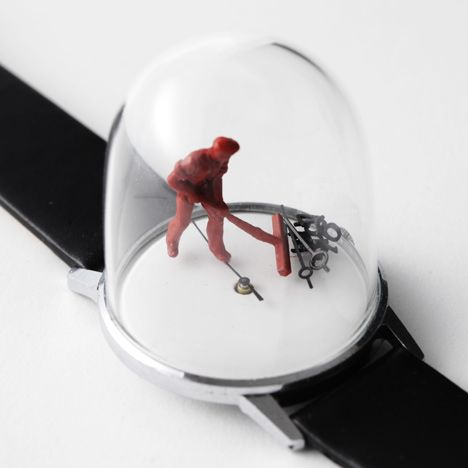 Sculptures made with vintage watches that move to the beat of the ticking. by Dominic Wilcox