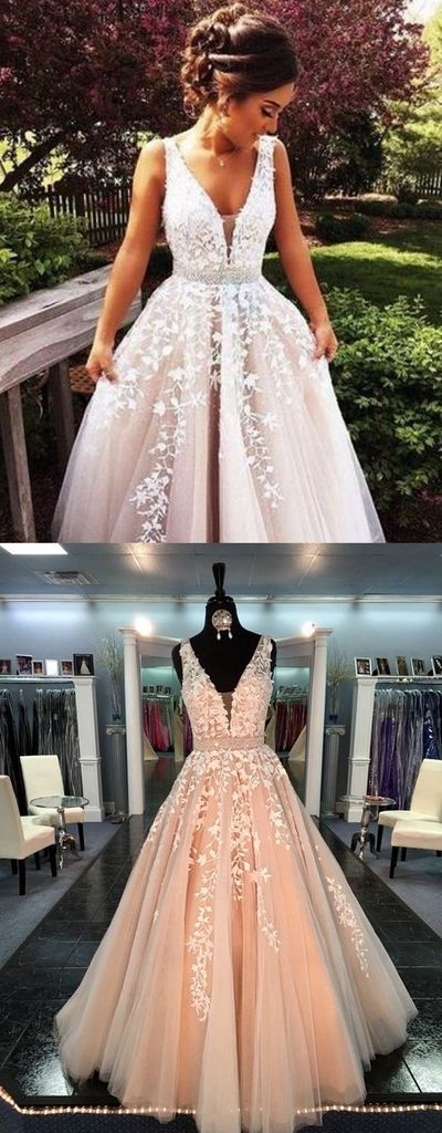 Long Prom Dresses,Ball Gown Prom Gowns,Lace Prom Dresses,V-neck Prom Dresses,Tulle Prom Gown,Prom Dress,Evening Gown For Teens,PD00146